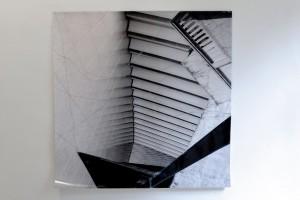 """Kornelia Hoffmann #Puls 17""""3, 2014 Fotocollage, LightJet-Fotoabzug, Klebeband,  Metallfaden 150x150cm"""